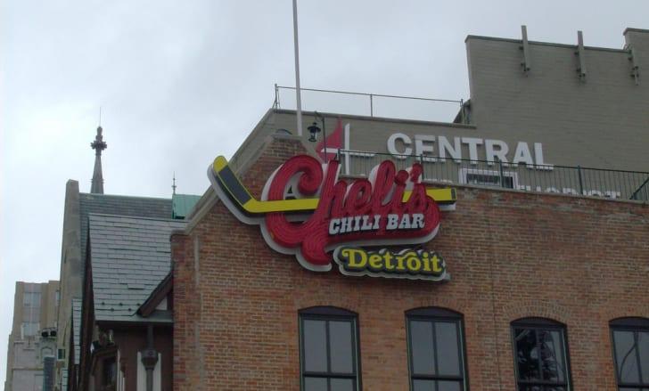 Outside of Cheli's Chili Bar.