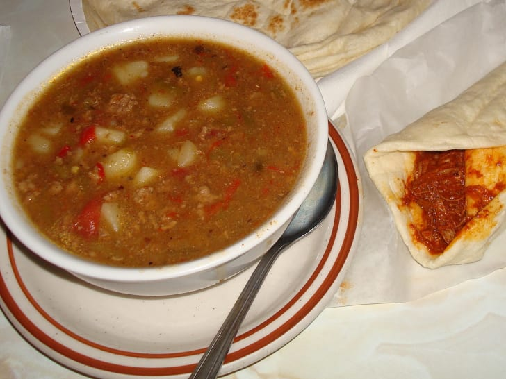 bowl of green chili stew