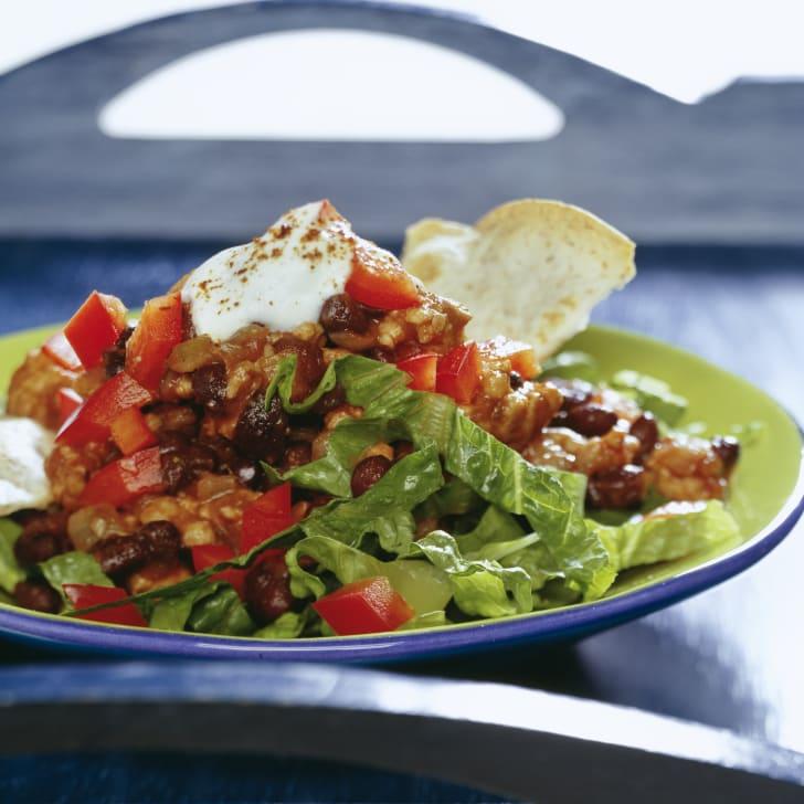 Nacho salad with chili
