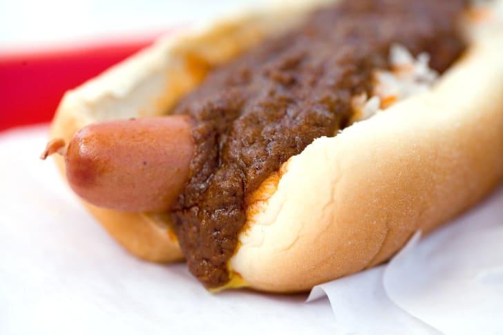 Hot dog with chili