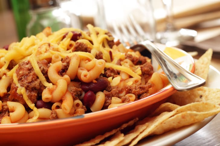 Chili with mac and cheese