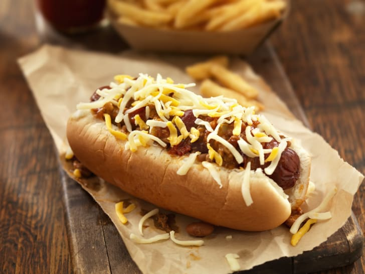 Chili dog with cheese.