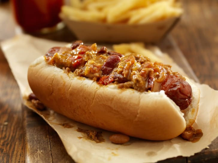 Chili dog on bun