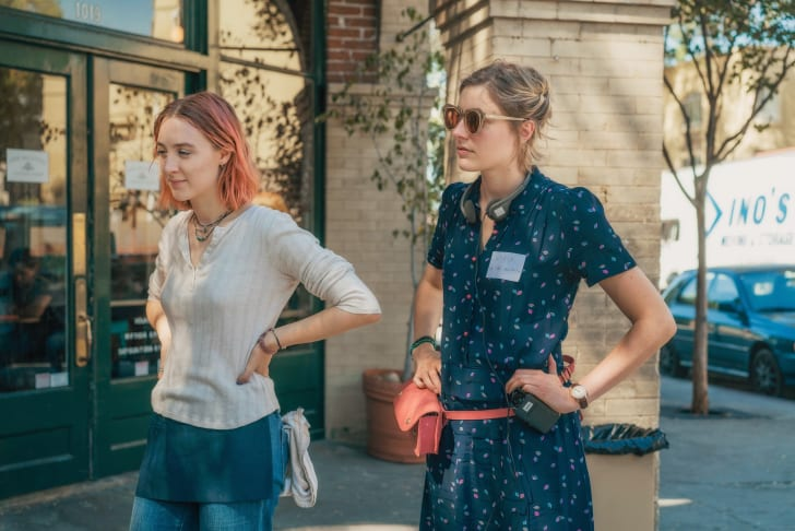 Saoirse Ronan and Greta Gerwig on the set of 'Lady Bird' (2017)