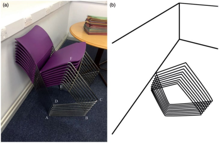 A stack of purple chairs in a classroom; a black-and-white drawing of an optical illusion of quadrangles stacked tother