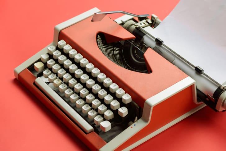 Picture of an orange typewriter