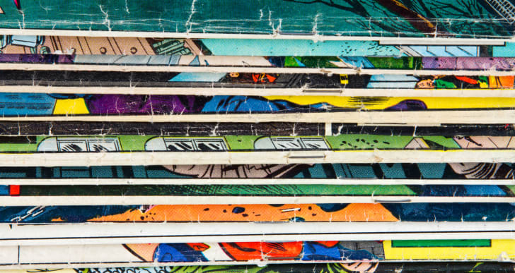 A stack of comic books