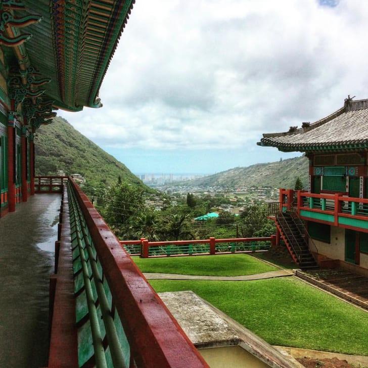 View of Palolo Valley from Mu-Rang-Sa Buddhist Temple