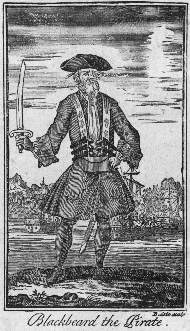 Captain Edward Teach or Thatch, who was known as Blackbeard the Pirate