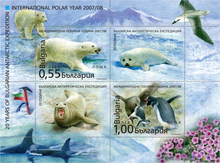 A Bulgarian stamp set featuring a polar bear, a seal, penguins, and a walrus.