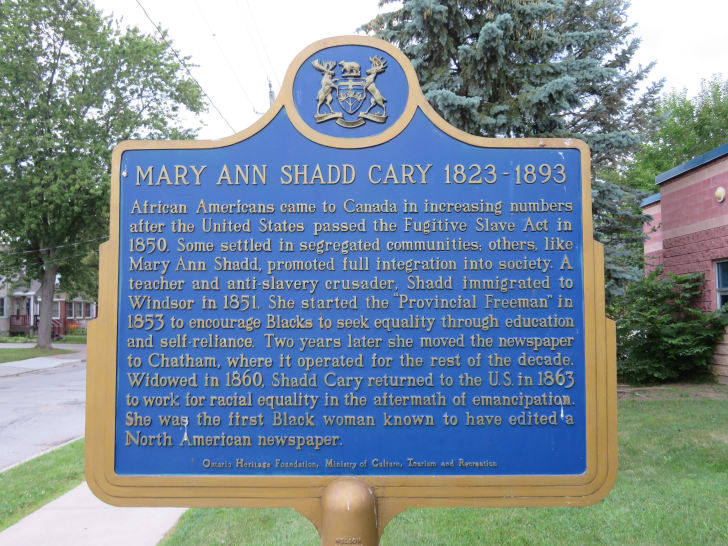 Sign of remembrance for Mary Ann Shadd Cary