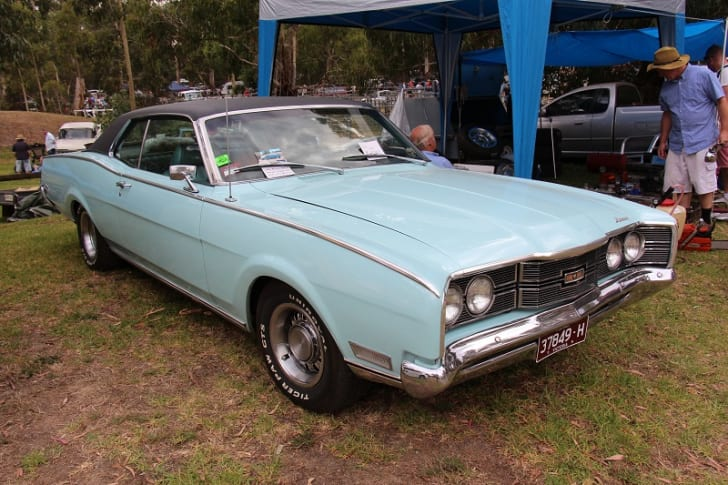 A 1969 Mercury Montego is parked on grass