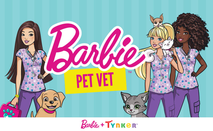 An illustration depicts Barbie and her friends surrounded by cats and dogs and reads 'Barbie: Pet Vet.'