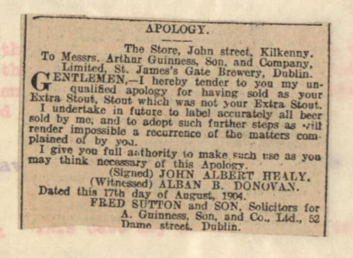 Guinness Apology