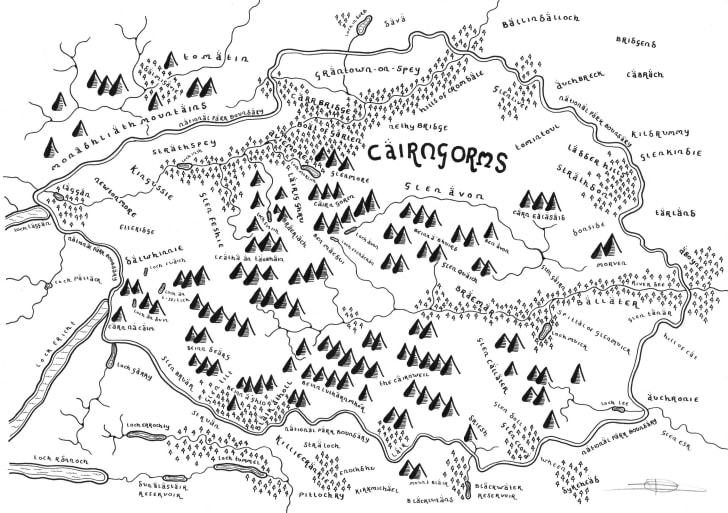 A black-and-white illustration of Cairngorms National Park in the style of a 'Lord of the Rings' map.