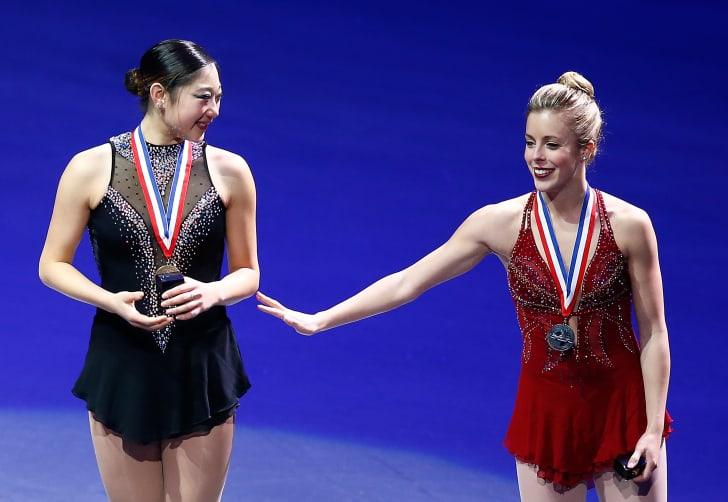 Mirai Nagasu and Ashley Wagner at the podium
