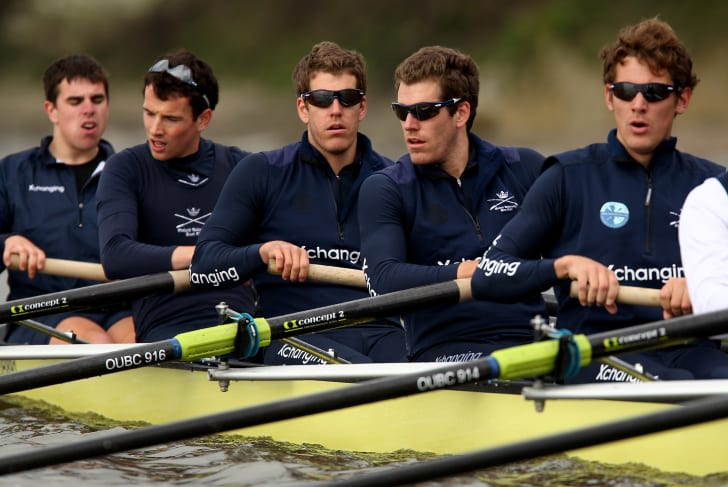 Oxford's Winklevoss twins, Tyler Winklevoss and Cameron Winklevoss of the USA (centre right) in action during Tideaway Week on The River Thames ahead of the Xchanging University Boat Race on March 30, 2010 in London, England.