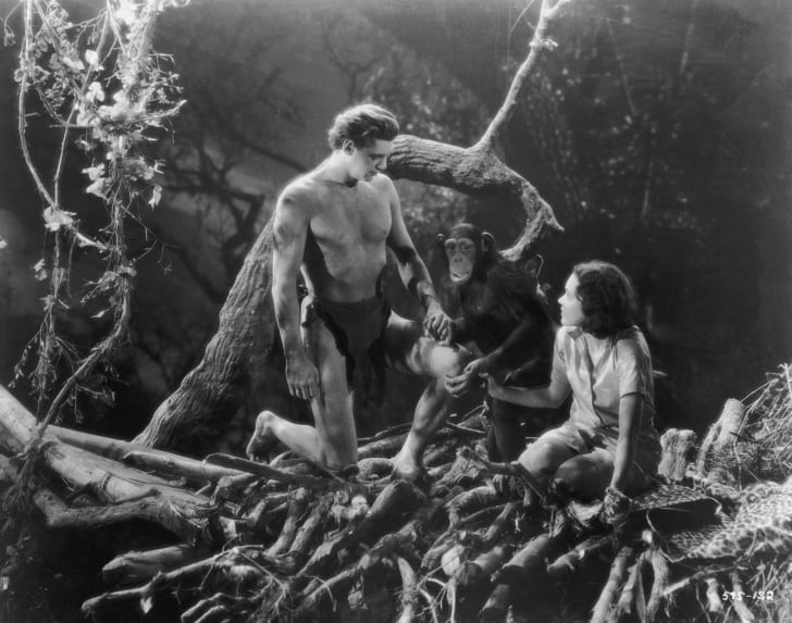 American actors Johnny Weissmuller as Tarzan and Maureen O'Sullivan as Jane.