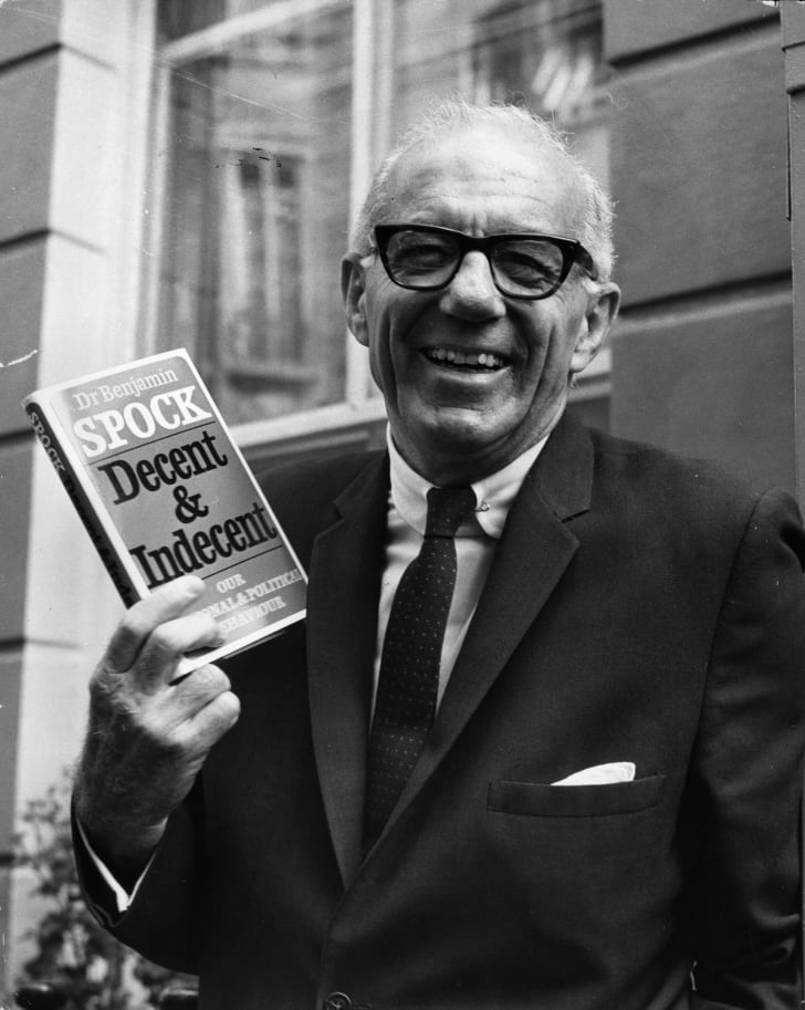 Dr Benjamin Spock, noted for his ideas on child-rearing, on a visit to Britain.