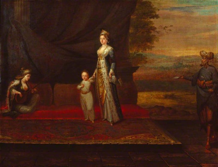 A painting of Lady Mary Wortley Montagu with her son, Edward Wortley Montagu, and attendants