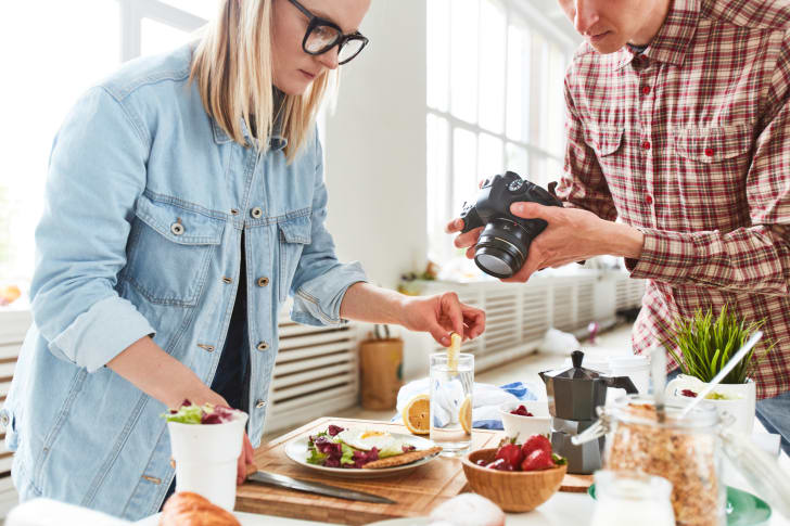 woman styling food