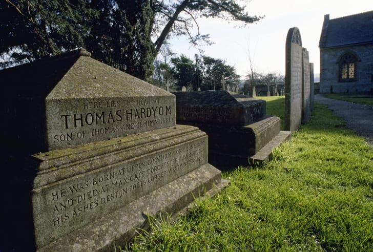 The burial place of Thomas Hardy's heart in Dorset