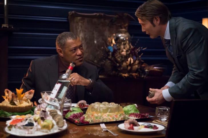 Laurence Fishburne as Jack Crawford, Mads Mikkelsen as Hannibal Lecter on Hannibal