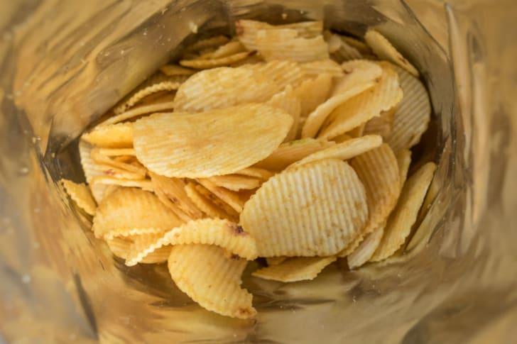 A view inside a potato chip bag