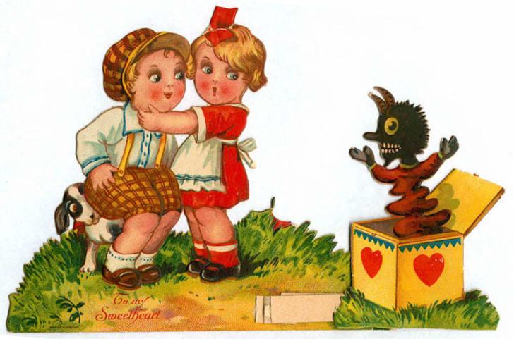 vintage valentine with krampus