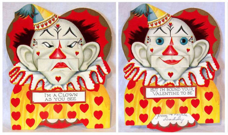 vintage valentine with a clown