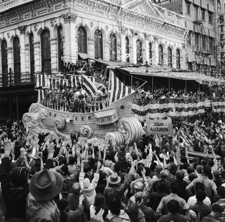 A Mardi Gras float celebrating the life of John James Audubon (1785 - 1851), an American naturalist, ornithologist and artist, in New Orleans, circa 1956.