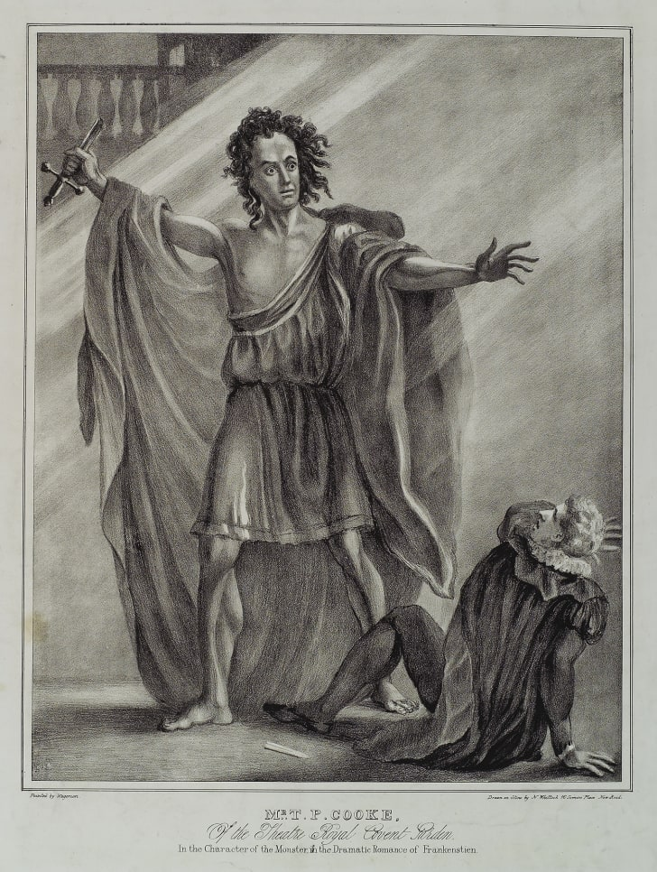 lithograph for the 1823 production of the play Presumption; or, the Fate of Frankenstein
