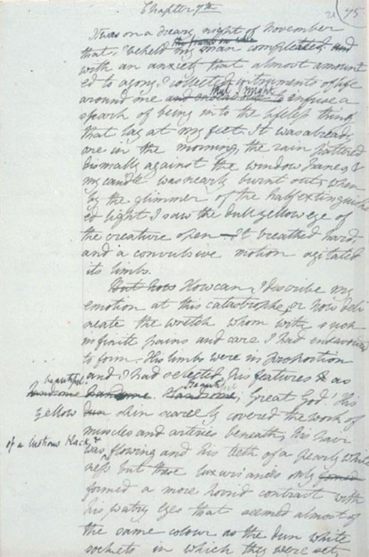 page from original draft of Frankenstein