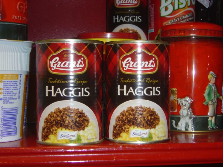 Canned haggis on a store shelf