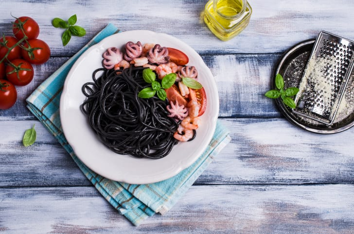 Squid ink spaghetti with seafood