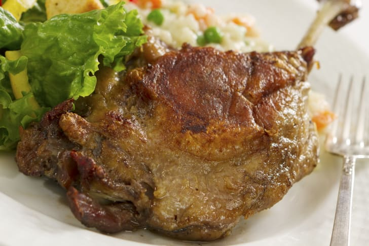 Duck confit  on a plate