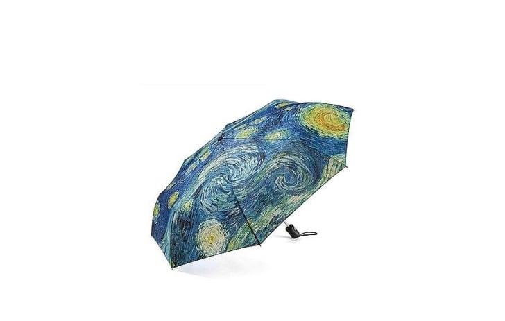 "umbrella with Vincent van Gogh's ""Starry Night"" print"