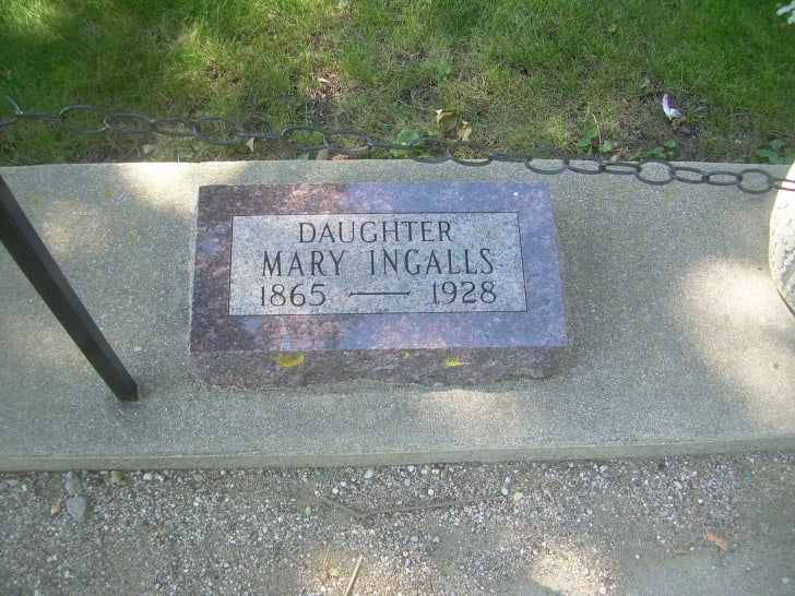 A phot of Mary Ingalls' grave marker in South Dakota