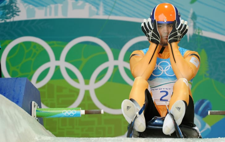 India's Keshavan Shiva prepares to start in the men's singles luge training session at the Whistler sliding centre on February 13, 2010 during the 21st Vancouver Winter Olympics