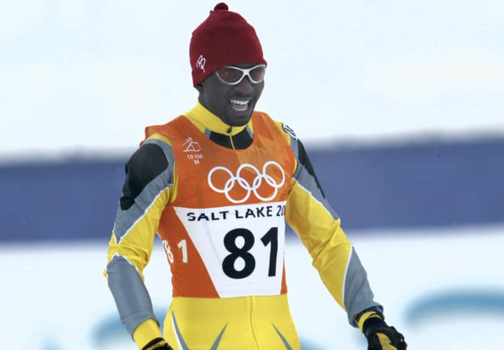 Isaac Menyoli of Cameroon competes in the Men's 10 km classical cross country skiing event at the XIX Olympic Winter Games at Soldier Hollow Utah