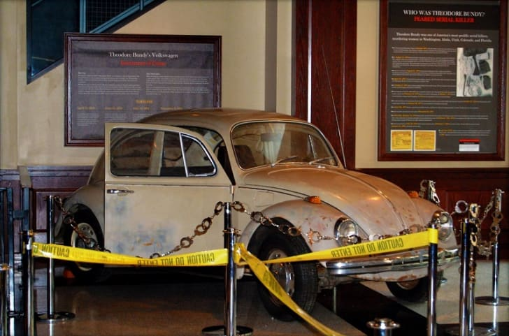 A photo of Ted Bundy's Volkswagen Beetle on display at the National Museum of Crime and Punishment