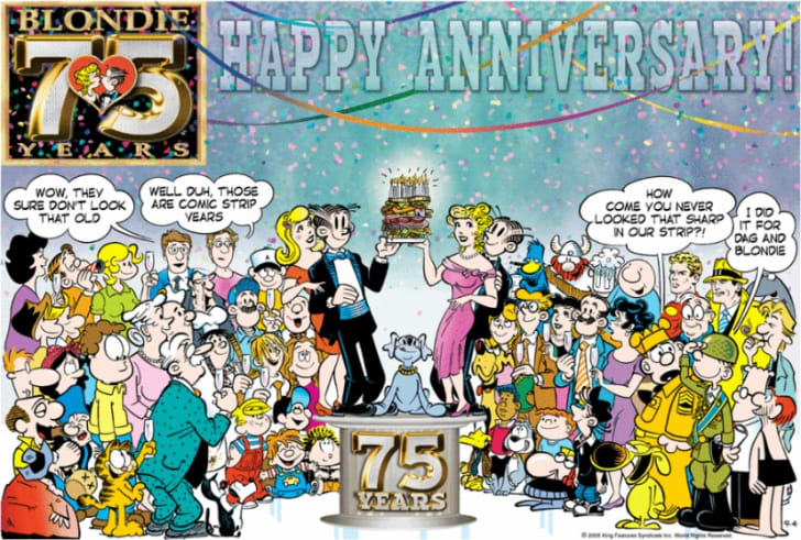 A 2005 'Blondie' comic strip featuring a number of other comic characters