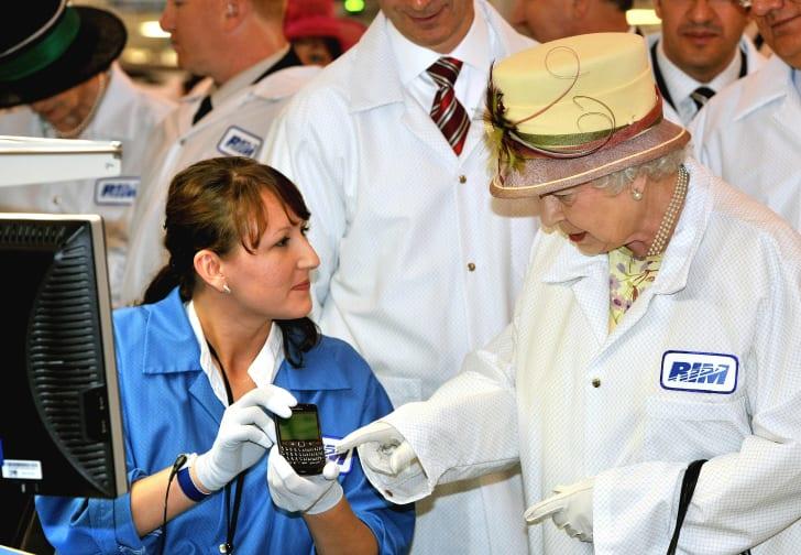 Queen Elizabeth II tours a Canadian Blackberry factory in 2010.