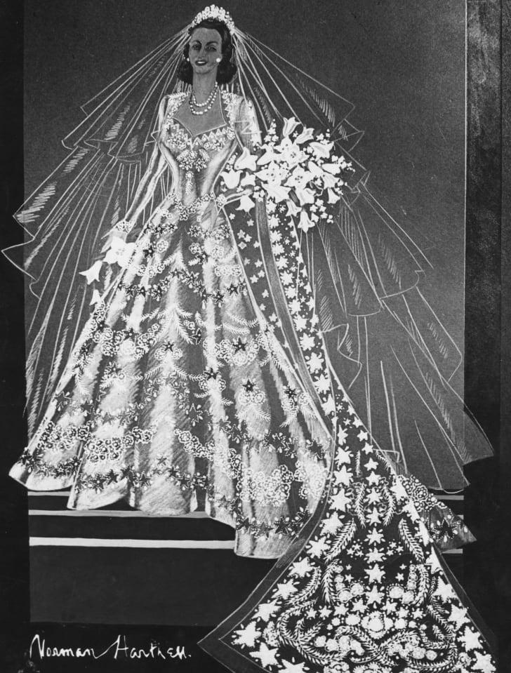 A 1947 sketch of Princess Elizabeth's wedding dress by Norman Hartnell.