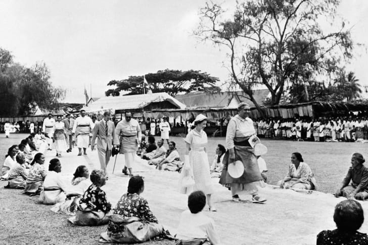 Queen Elizabeth II in Nuku'alofa, Tonga in December 1953.