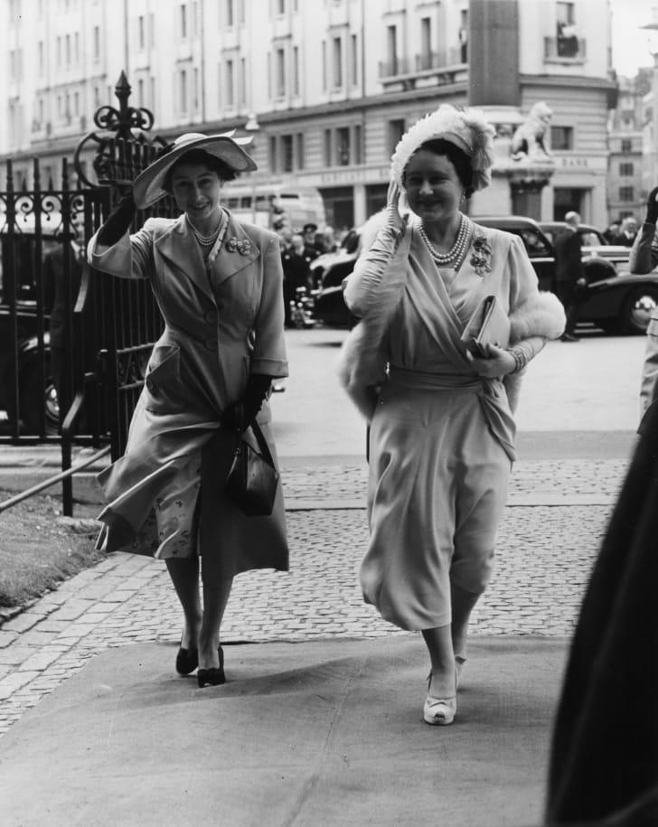 Princess Elizabeth (left) and her mother, Queen consort Elizabeth, in 1951.
