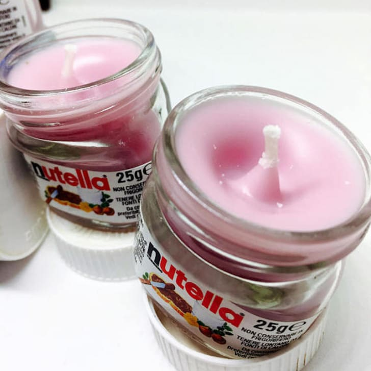 Candles in Nutella jars.