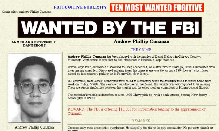 This picture taken from the FBI web site on the Internet 16 July shows Andrew Phillip Cunanan, the sole suspect in the murder of Italian fashion designer Gianni Versace. Versace was gunned down in front of his Miami home