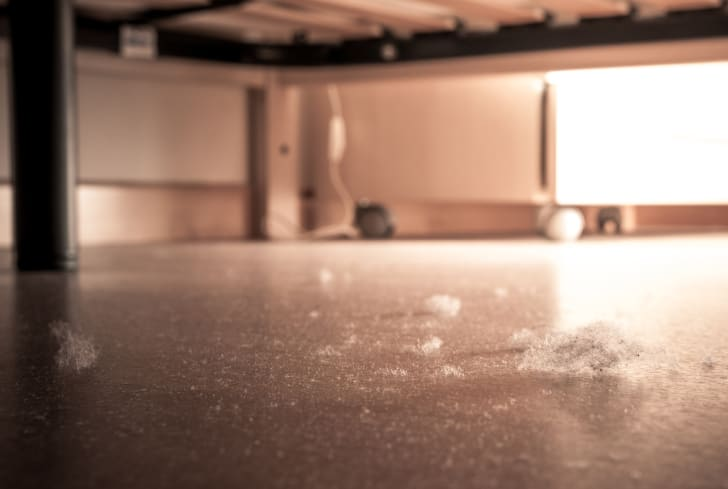 Dust collects under a bed.