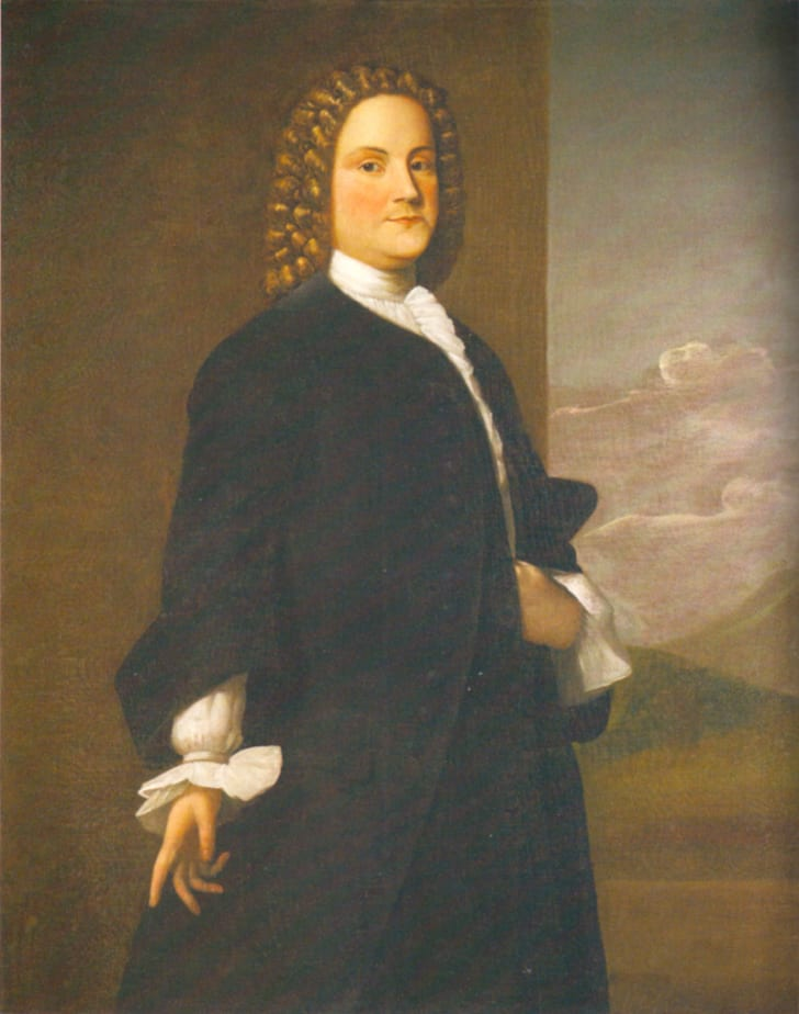 First portrait of Benjamin Franklin by Robert Feke.